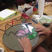 setting up stained glass circle