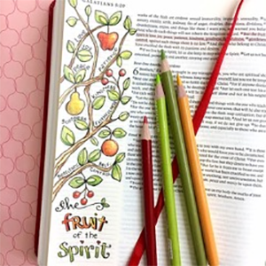 Bible journaling with colorful page