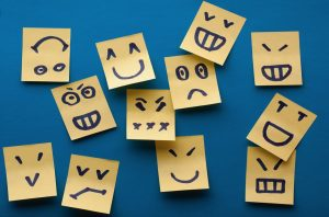 sticky notes with faces